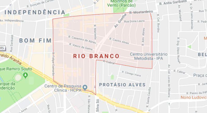 Mapa do bairro Rio Branco, Porto Alegre